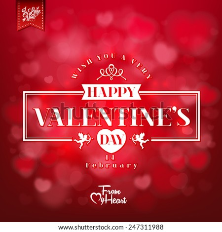 Happy Valentines Day Card With Hearts - stock vector