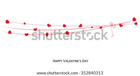 Happy Valentines Day card with hearts banner vector