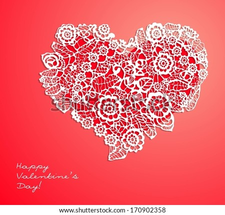 happy valentines day card with lace ornament in heart shape - stock vector