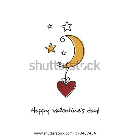 Happy Valentines day card with  night and heart - stock vector