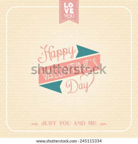 Happy valentines day card with ornaments. - stock vector