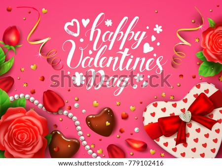 Happy Valentines Day Card Realistic Rose Stock Vector 779102416 ...