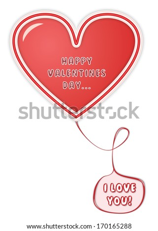 Happy Valentines Day Card with Red Heart and a Pink Balloon With I Love You text inside it. All with vector shadows. - stock vector