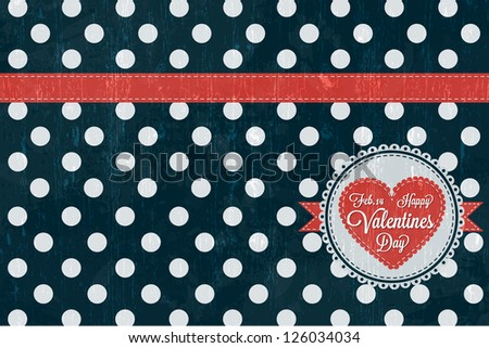 Happy Valentines Day Card  with retro design