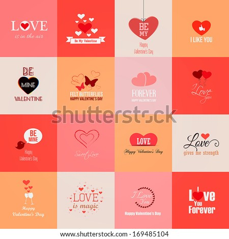 Happy valentines day cards. Vector - stock vector