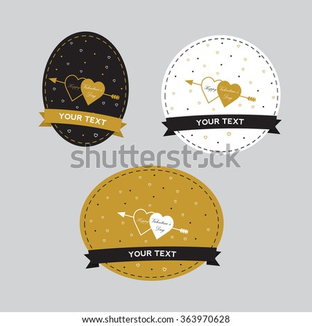Happy valentines day cards with  arrow. Vectror eps10 illustrations and typography elements.  Valentine`s day set. I love you vector icon. 14 february.  - stock vector