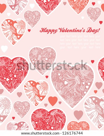 happy valentines day cards with heart ornaments - stock vector