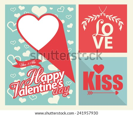 Happy valentines day cards with hearts and arrow  - stock vector