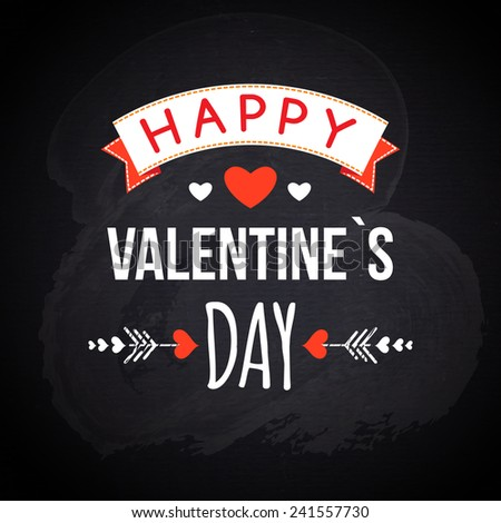 Happy Valentines day cards with hearts, ribbon and chalkboard texture. vector