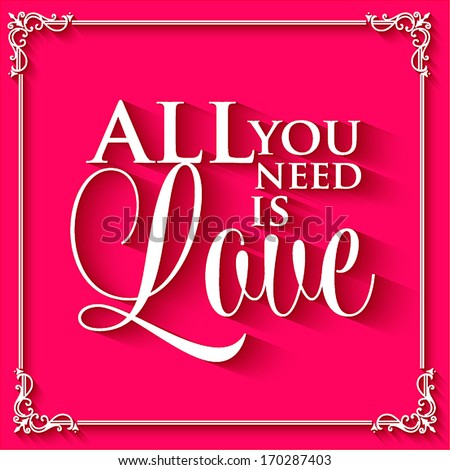 Happy valentines day cards with ornaments, hearts, ribbon, angel and arrow/ All you need is love. Happy Valentine's Day Hand Lettering - Typographical Background