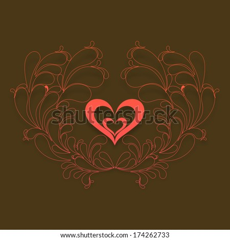 Happy Valentines Day celebration concept with red heart shape on floral decorated brown background.