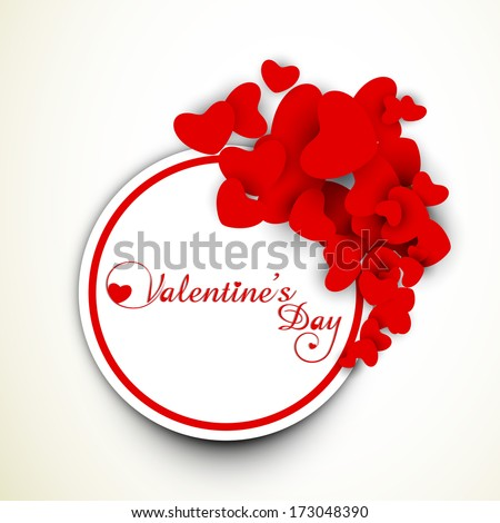 Happy Valentines Day celebration concept with red heart shape tag, sticker or labels.  - stock vector