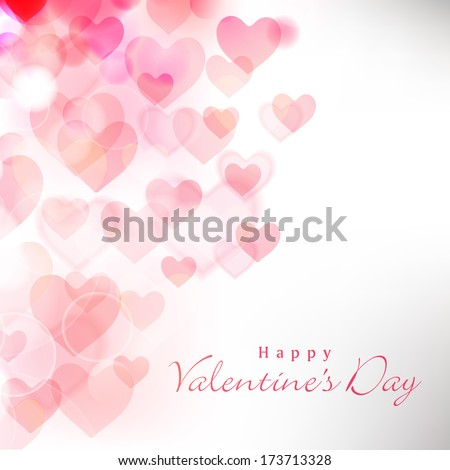 Happy Valentines Day celebration greeting card decorated with pink heart shape on grey background.  - stock vector