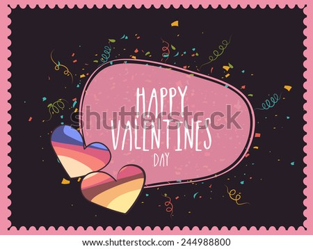 Happy Valentines Day celebration greeting card design with hearts on colorful ribbons decorated background.