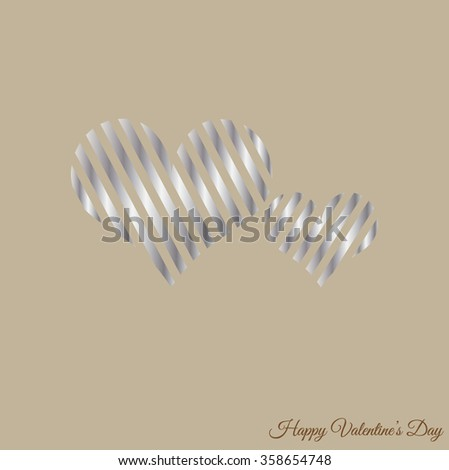 Happy Valentines Day celebration greeting card design with stylish silver hearts shape, can be use as sticker, tag or label. Happy Valentine's Day text message