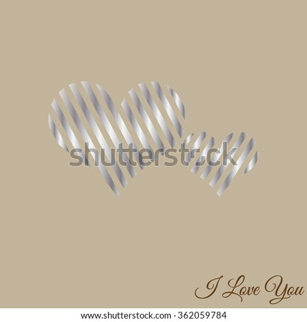 Happy Valentines Day celebration greeting card design with stylish silver hearts shape, can be use as sticker, tag or label. I Love you text message. Vector