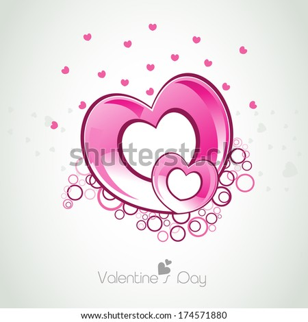 Happy Valentines Day celebration greeting card with glossy pink heart shapes on grey background, can be use as flyer, banner or poster.