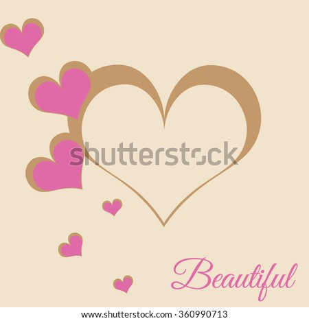 Happy Valentines Day celebration illustration with stylish heart shapes in brown color. Beautiful text message.