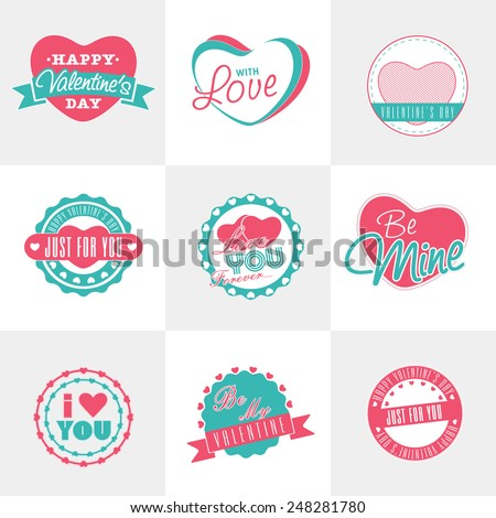 Happy Valentines Day celebration sticker or label with pink hearts. - stock vector