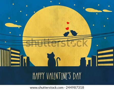Happy Valentines Day celebration with silhouette of bird couple in love and cat on grungy urban night background. - stock vector