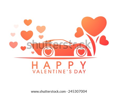 Happy Valentines Day celebration with stylish car and hearts on white background. - stock vector