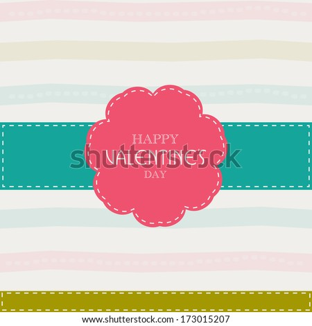 Happy Valentines Day concept with pink badge on colorful abstract background.
