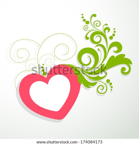 Happy Valentines Day concept with pink heart shape and green floral design on grey background, can be use as flyer, banner or poster.