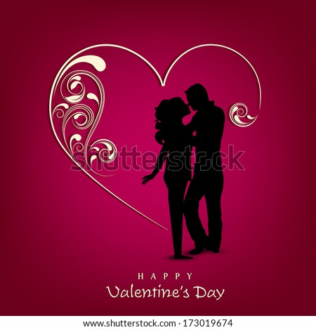 Happy Valentines Day concept with silhouette of couple in love on floral decorated heart shape background.