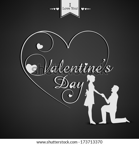 Happy Valentines Day concept with white silhouette of a couple in love with stylish calligraphy text and heart shape on grey background.