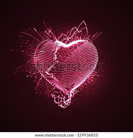 Happy Valentines Day. 3D illuminated neon heart of glowing particles and wireframe. Vector illustration.  - stock vector