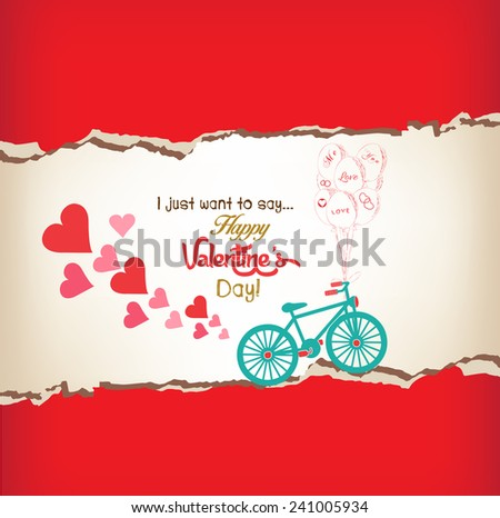 happy valentines day greeting card - stock vector
