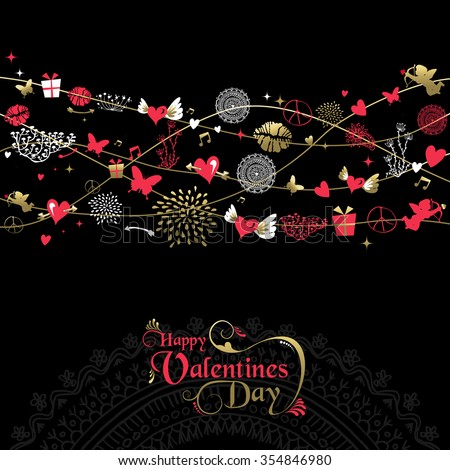 Happy Valentines day greeting card background design, vintage style icon decoration with text label in gold and pink . EPS10 vector.