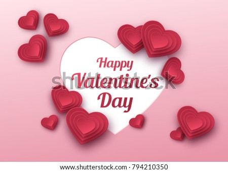 Happy valentines day greeting card paper stock vector 794210350 happy valentines day greeting card paper art love and wedding red paper hearts m4hsunfo