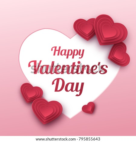 Happy valentines day greeting card paper stock vector 795855643 happy valentines day greeting card paper art love and wedding red paper hearts m4hsunfo