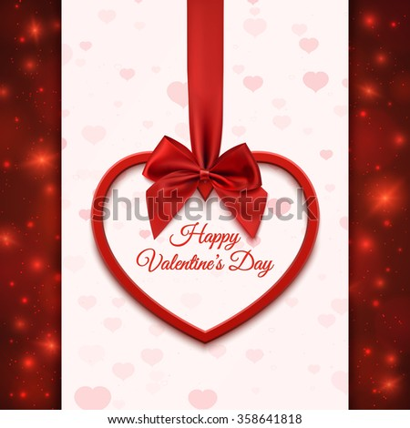 Happy Valentines day greeting card template. Red heart with red ribbon and bow, on abstract background with hearts and particles. Vector illustration. - stock vector
