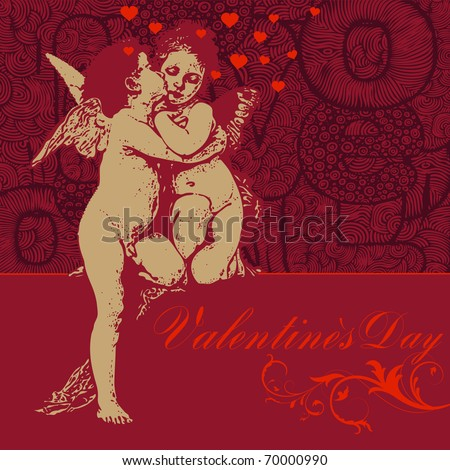 happy Valentines day - greeting card,  valentine's angels and hearts, vector illustration
