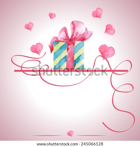 Happy Valentines Day Greeting Card with place for text .  Vector Illustration - stock vector