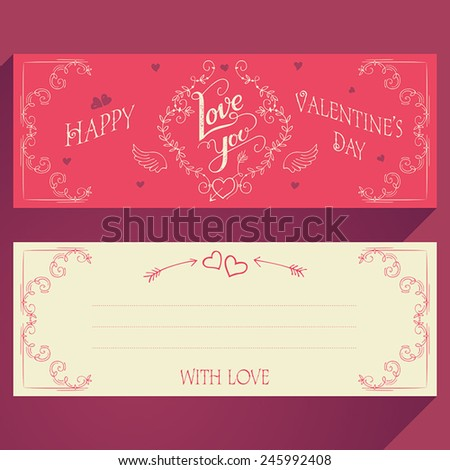 Happy Valentines day hand-lettering greeting card face and back - stock vector