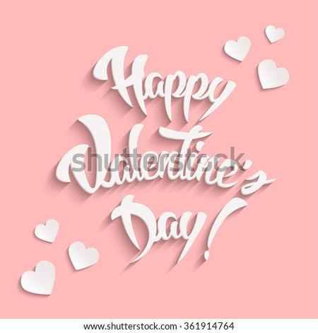 Happy Valentines Day Hand Lettering Greeting Card with White Hearts Design Elements. Vintage Background. Vector illustration.  - stock vector