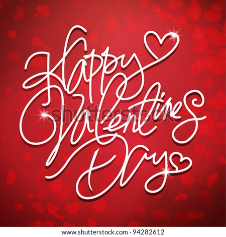 Happy valentines day handwritten text - stock vector