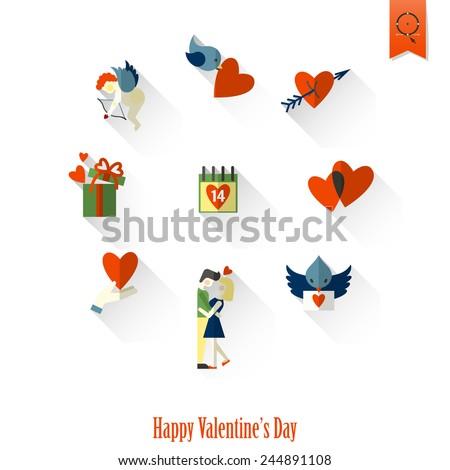 Happy Valentines Day Icons - stock vector