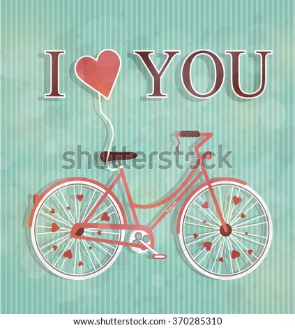 Happy Valentines day illustration. Cute romantic woman's bicycle with flying heart and inscription i love you. Heart shape. Symbol of love. Vintage style holiday greeting card. Retro postcard design.  - stock vector