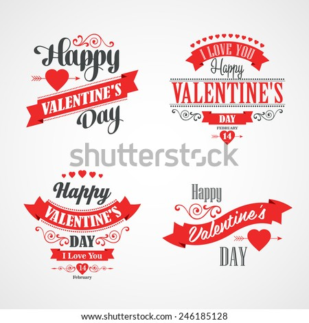 Happy Valentines Day Lettering Card. Typographic Background With Ornaments, Hearts, Ribbon and Arrow - stock vector