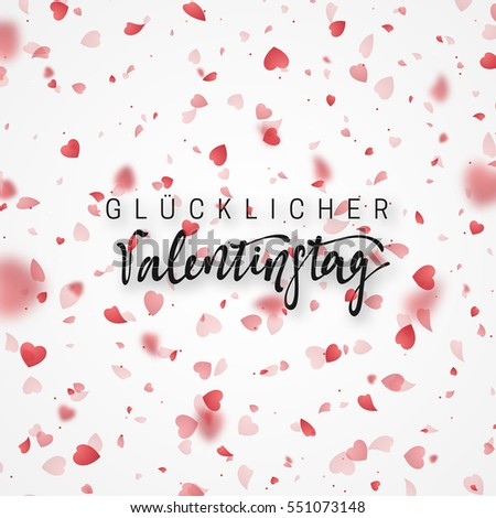 Happy Valentines Day Lettering Greeting Card Vector – German Valentines Day Cards