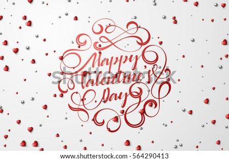 Happy Valentines Day lettering greeting card. Bright red hearts and silver beads on a background. Festive banner and poster.