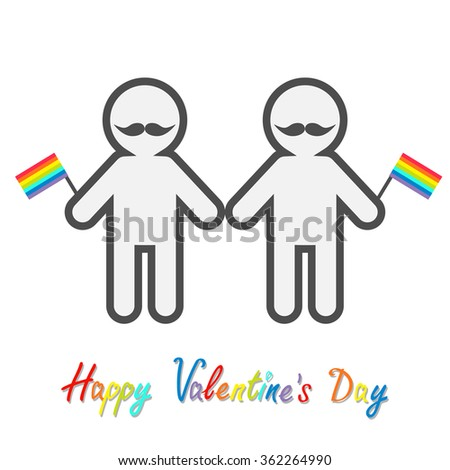 Happy Valentines Day. Love card. Gay marriage Pride symbol Two contour man with mustaches and rainbow flags LGBT icon Flat design. Vector illustration - stock vector