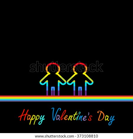 Happy Valentines Day. Love card. Gay marriage Pride symbol Two contour rainbow line man LGBT icon Flat design. Vector illustration - stock vector