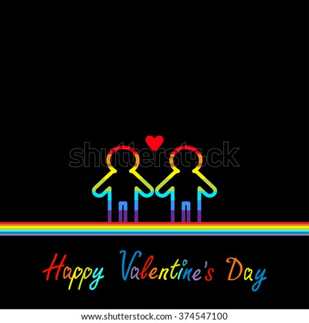 Happy Valentines Day. Love card. Gay marriage Pride symbol Two contour rainbow line man LGBT icon Red heart Flat design. Vector illustration - stock vector