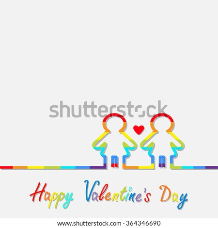 Happy Valentines Day. Love card. Gay marriage Pride symbol Two contour rainbow line woman LGBT icon Red heart Flat design. Vector illustration - stock vector