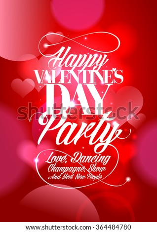 Happy Valentines day party design bokeh hearts. - stock vector